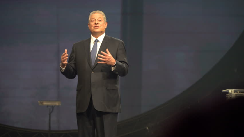 HELSINKI, FINLAND - NOVEMBER 30, 2017: Al Gore Vice-President of the United States, Nobel Peace Prize Laureate speaks at the opening ceremony of the startup and tech festival Slush in Messukeskus Expo