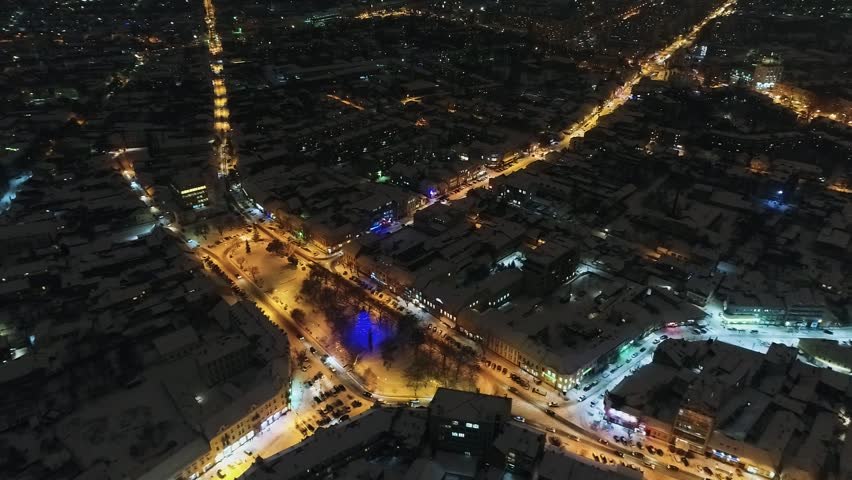 An amazing aerial view of Night fairytale city before Christmas, Uzhgorod, Ukraine, HD | Shutterstock HD Video #33496462
