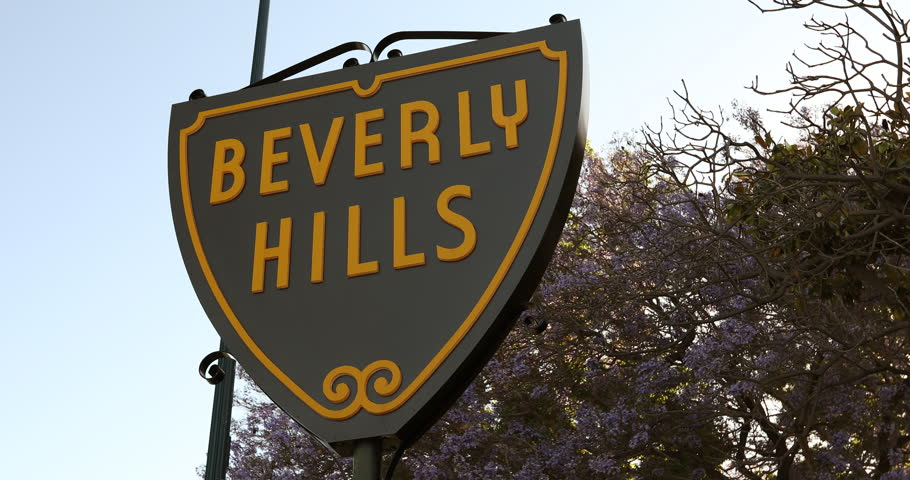 Los Angeles, USA - March 06, 2015: Beverly Hills sign in the Rodeo Drive shopping district of Los Angeles California USA. Beverly Hills is a city in California's Los Angeles County near Hollywood