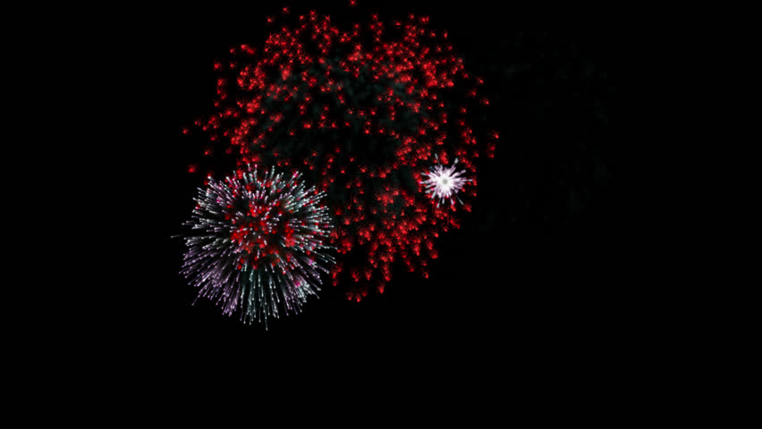 Multicolor fireworks loop alpha transparent 4K animation.  alpha channel + red yellow pink purple white and blue fireworks at night background.  Happy New Year holiday celebration fireworks. | Shutterstock HD Video #33521404
