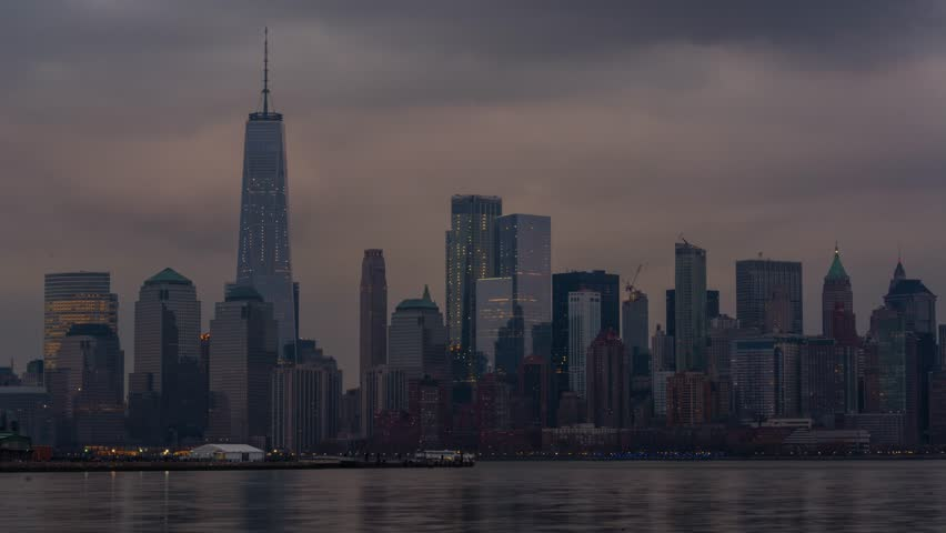 New York City Skyline, Day to Night Timelapse Video, from Liberty State Park, NJ