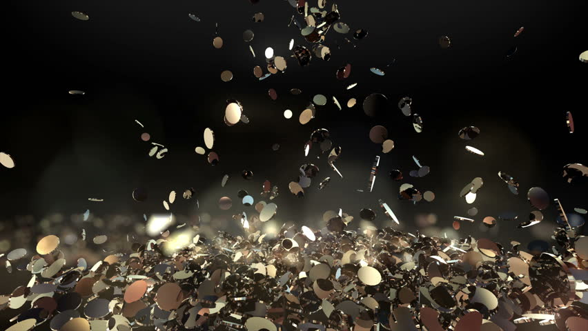 Money falling with bokeh slow motion. Golden Bitcoin coins fall and fill the screen,  Digital Money rain, Cash flow. Glitter Gold coins. Best for for winners. Casino jackpot. dynamic 3d animation. | Shutterstock HD Video #33550375