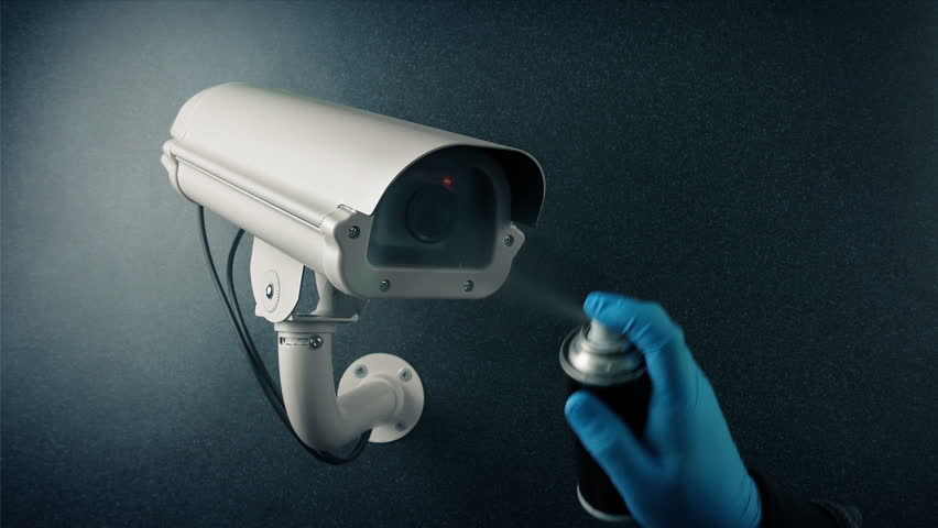 CCTV Camera Spray Painted - Bank Robbery, Vandalism, Privacy Concept
