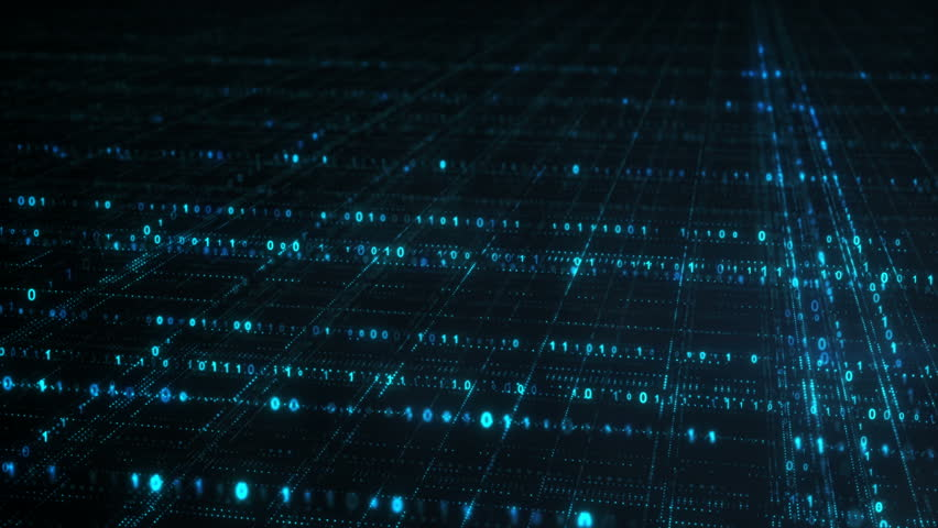 Blue grid of binary digital code. Information technology futuristic concept. Computer generated seamless loop animation 4k (4096x2304) #33564214