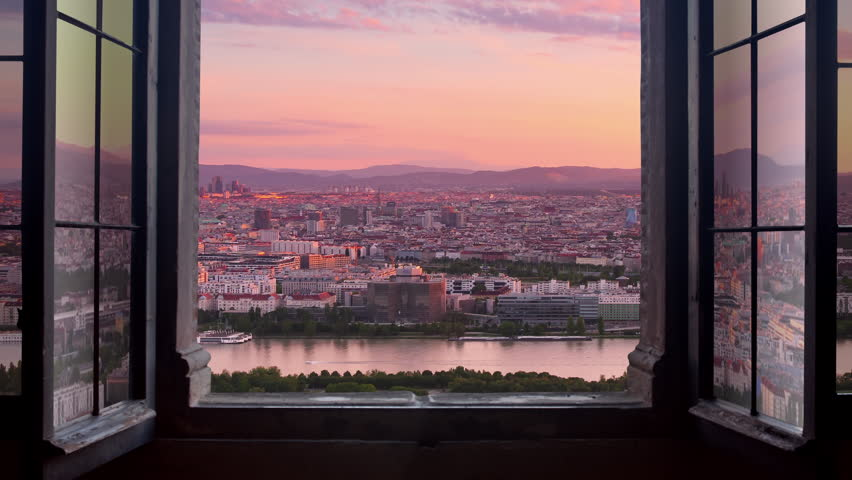 Vienna city time lapse aerial view from day to night seen through window | Shutterstock HD Video #33578473