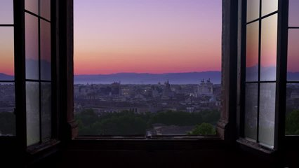 rome city at sunrise timelapse view through window