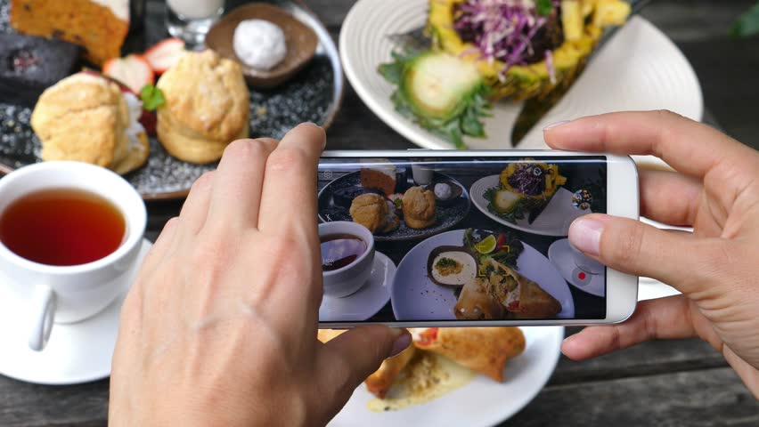 Closeup Of Hands Photographing Food With Phone In Restaurant. 4K.  #33583567