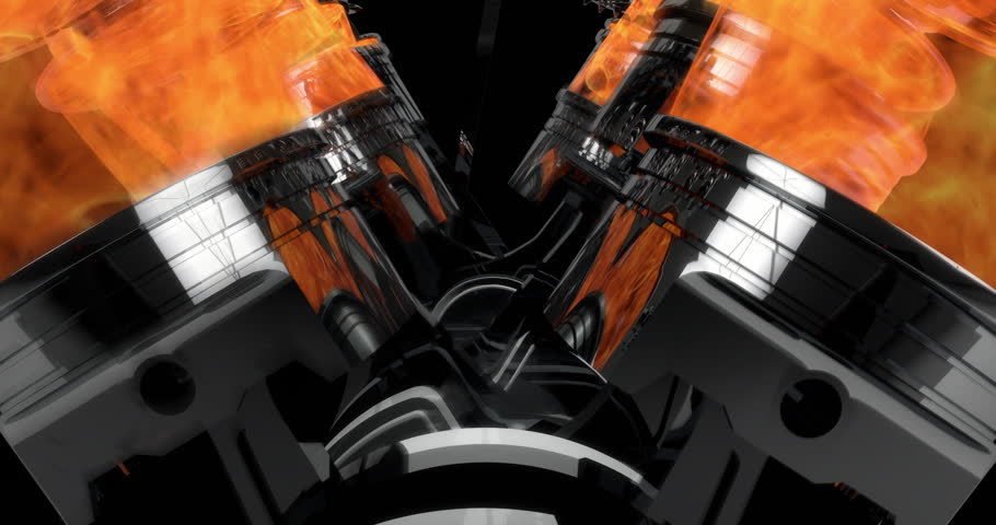 Slow Motion Close Up Working V8 Engine Animation With Explosions - Loop   Shutterstock HD Video #33590734