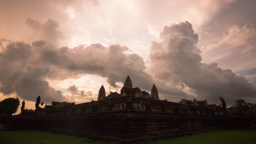 Angkor wat with bubbling storm cloud