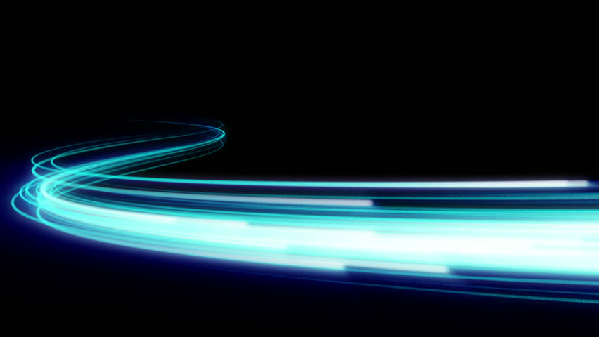 Fast energy flying wave line with flash lights. Animation magic swirl trace path on black background.