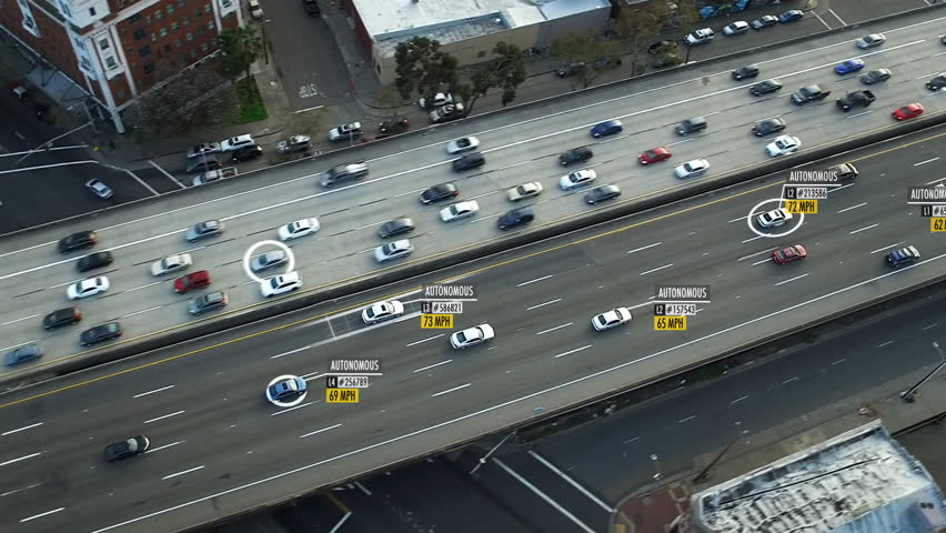 Driverless or autonomous car aerial view. Traffic passing by a highway. Plate number, miles per hour and ID number displaying. Future transportation. Artificial intelligence. Self driving. #33601573