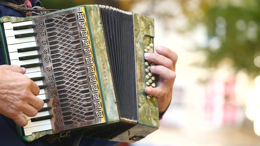 Chernivtsi, Ukraine - 12.10.2017 : Man playing accordion in park. close up