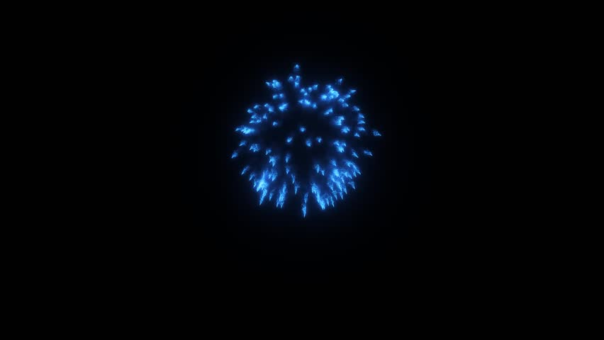 Colorful single firework at night. Spectacular single Blue Deep Skyblue firework firecrackers with smoke trace 3d render. | Shutterstock HD Video #33609496