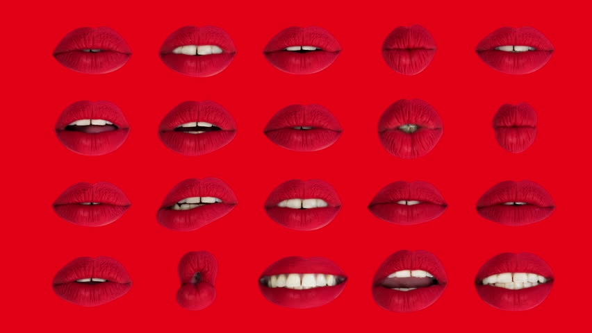 Time lapse sequence of woman's full red lips talking and moving against red background  | Shutterstock HD Video #33612253