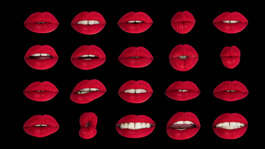 Time lapse sequence of woman's full red lips talking and moving against black background | Shutterstock HD Video #33612262