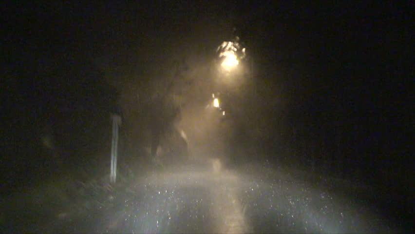Driving In Severe Hurricane Wind And Rain.