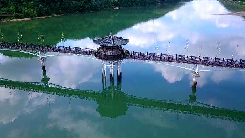 Aerial video of Wolyeonggyo bridge is located in the midst of Nakdong river, Andong, South Korea.   Shutterstock HD Video #33629605