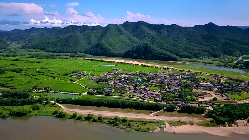Aerial video of Andong Hahoe Folk Village, South Korea.   Shutterstock HD Video #33629686