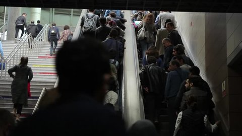 The Marmaray trains,stations and people in Istanbul/Turkey 22.10.2017