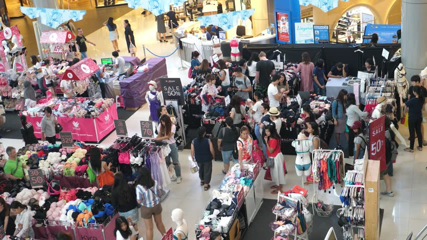 Crowd Of People Shopping In Mall At Big Friday Sale On Clothes Market. HD, 1920x1080. BANGKOK, 25 Nov, 2017.
