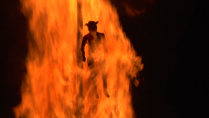 Dancing around the burning  of a witch