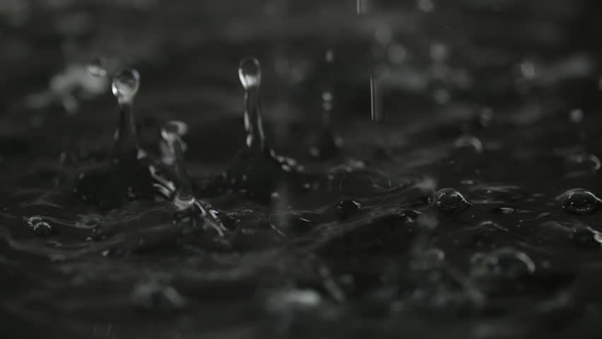 Water drop falling to liquid surface Full HD slow-motion video nature background. Clean rain waterdrop drips and splashing. Black abstract waves and bubbles #33662755
