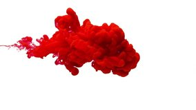 Red color paint ink drops in water slow motion full hd video white background with copy space. Inky cloud swirling flowing underwater. Abstract isolated smoke explosion. Virus Coronavirus concept