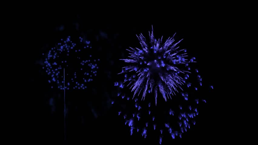 Dark Blue fireworks as background for holidays like New Year, Christmas or other holidays. Beautiful firecrackers show are isolated on black and ready for compositing. 3d animation pyrotechnic light | Shutterstock HD Video #33671404