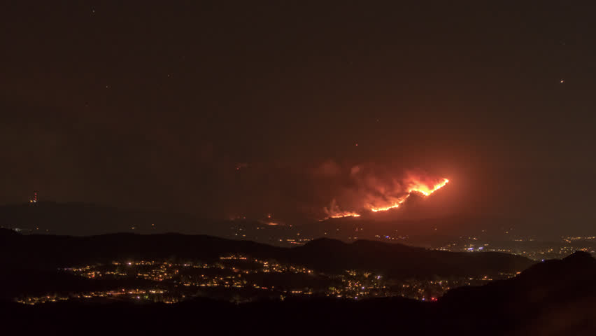 California Wildfires Time Lapse nighttime Fiery Cloud Set of 5 4K from a 5K source 4444 Ojai, Ventura, Thomas Fires