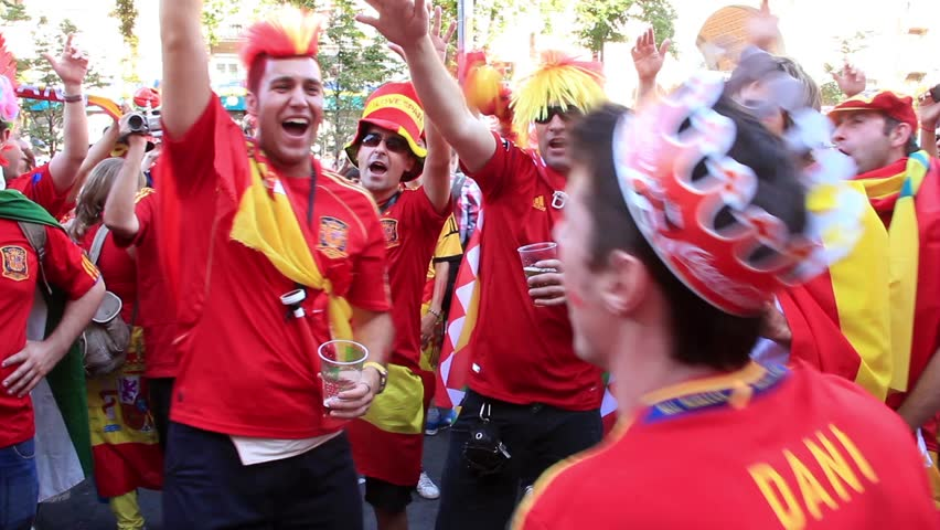 KIEV, UKRAINE - JULY 1: Spanish football fans before final match of European Football Championship