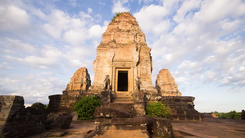 Angkor temple, East Mebon temple in the sky changing perspective