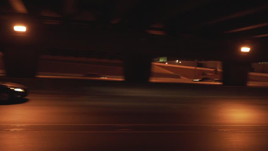 LAS VEGAS, USA - CIRCA NOVEMBER, 2017: Side view of Las Vegas Strip from moving car on highway