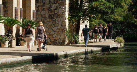 San Antonio Oct 2017 Pedestrians Walking Summer Day River Walk