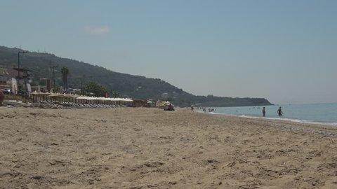 Beach on the Greek sea:Ionian Islands ,Greece June 14 2017