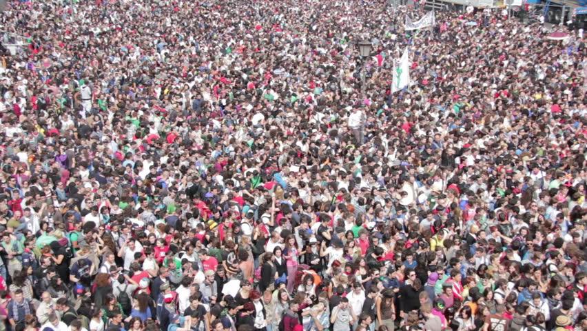 "ROME, ITALY - May 01, 2012: ""Concerto del Primo Maggio"" (""Workers' Day Concert""), Piazza San Giovanni (San giovanni Square) - Workers' Day, Rome, Italy   Shutterstock HD Video #3374648"