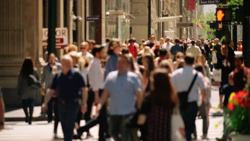 Anonymous crowd walking in New York City. People walking in busy street of Manhattan. More options in my portfolio.   Shutterstock HD Video #33757972