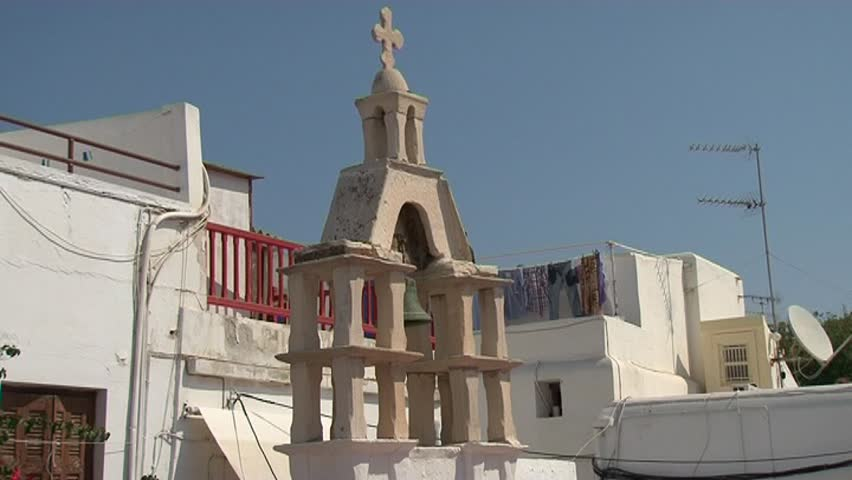 Mykonos Greek Church Steeple with bell and cross | Shutterstock HD Video #3375914