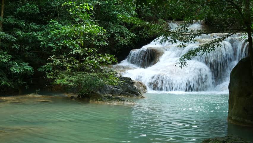 Deep forest waterfall at Erawan waterfall National Park Kanjanaburi Thailand | Shutterstock HD Video #33771235