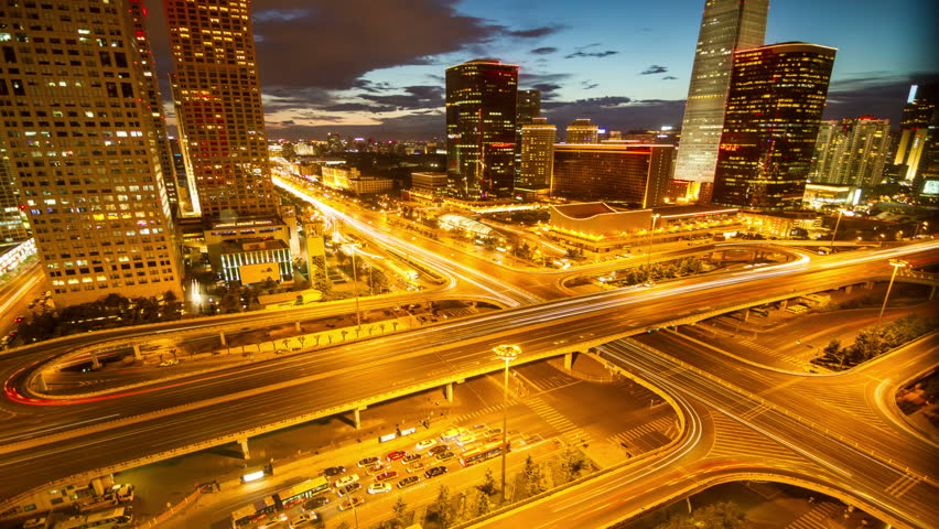 Beijing Central Business District skyline sunset time lapse   Shutterstock HD Video #3377915
