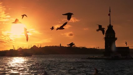 istanbul sunset Turkey Cityscape Hagia Sophia, Blue Mosque, Topkapi Palace, Maiden's tower and beautiful sunset sunset istanbul bacround.  ISTANBUL Serial VIDEOS