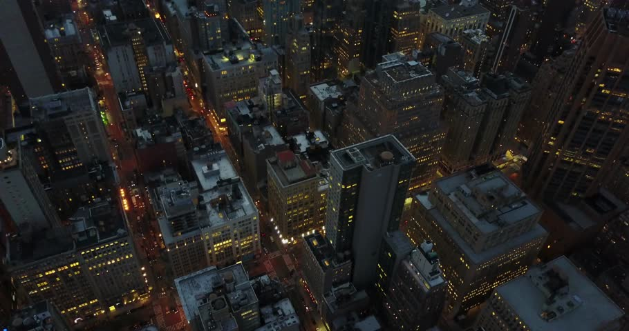 Aerial Footage of Empire State Building and Midtown NYC at Night USA - March 10 2017 | Shutterstock HD Video #33814834