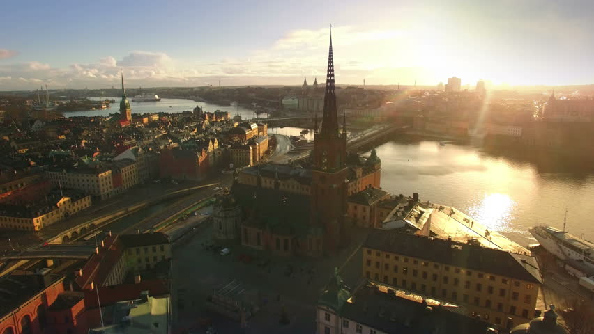 Aerial view of Stockholm City, Riddarholmen Royalty-Free Stock Footage #33871723