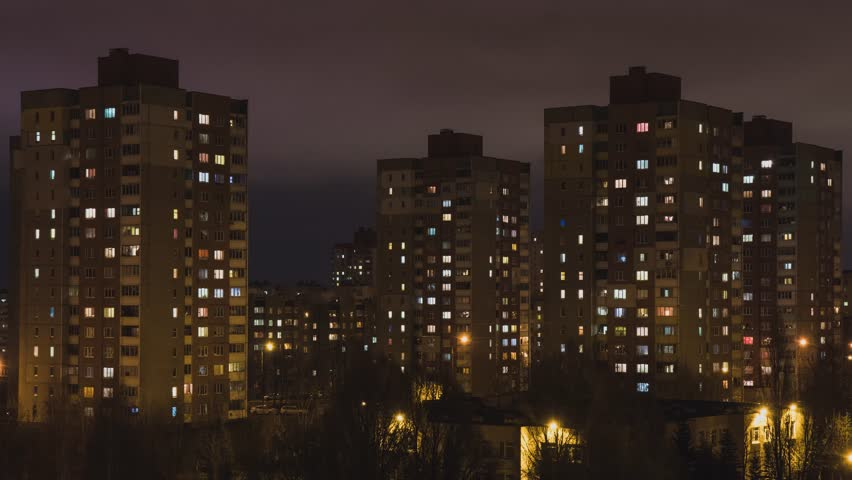 House. City. People. Population. Electricity. Electricity. Shine. A life. Night city. Night. Window. High-rise building. | Shutterstock HD Video #33880069