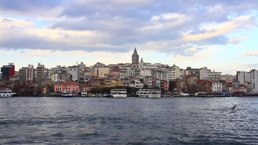 Goldenhorn in front of Galata Tower, Istanbul, Turkey