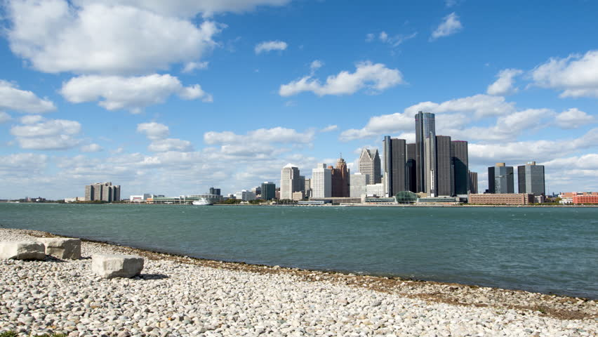 Wide timelapse of Detroit's skyline on a sunny day. Locked off tripod.