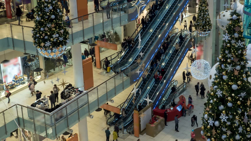 Christmas Shopping In The Mall Royalty-Free Stock Footage #33944947