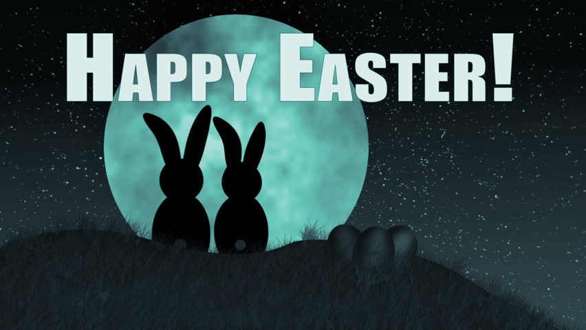 Happy Easter (Bunnies on hill). Silhouetted Bunnies in Love Look at Moon.