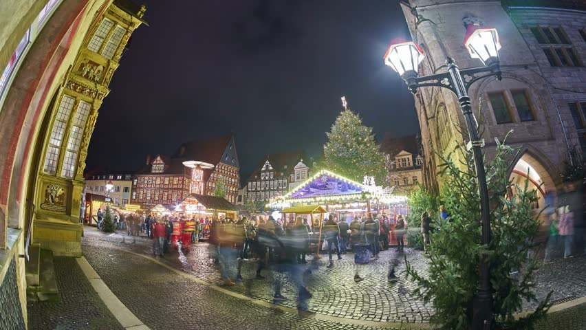 Christmas Market on the historic market place in Hildesheim, Germany. Time lapse.   Shutterstock HD Video #33954481