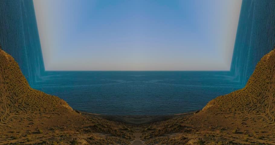 Surreal dreamlike empty beach and sea