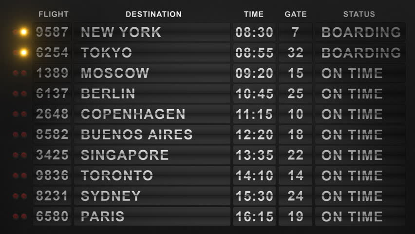 International Airport Departure Flip-Style Board. 20 Cities Timetable. Seamlessly Loopable Background